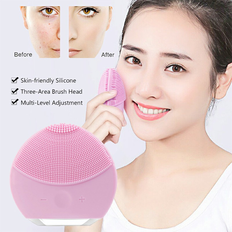 Silicone Electric Face Cleansing Brush Facial Skin Cleaner Cleaning Massager - Pink