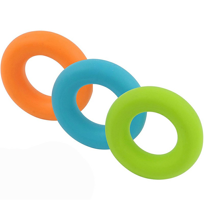 Silicone Hand Grip Exerciser Strengthener Ring for Finger Strength and Stress Relief 50 lbs - Orange