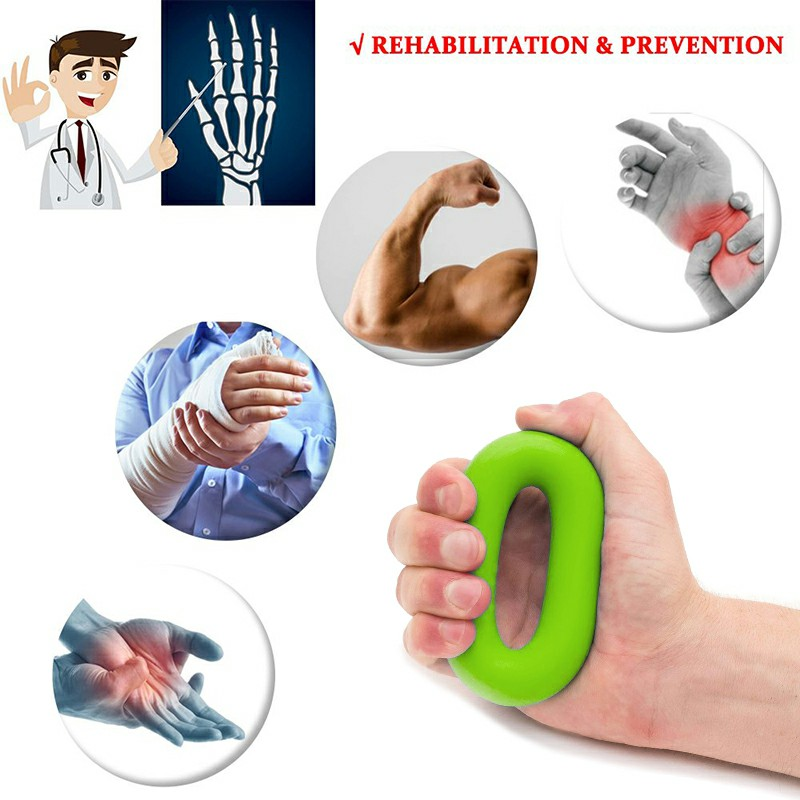 Silicone Hand Grip Exerciser Strengthener Ring for Finger Strength and Stress Relief 30 lbs - Green