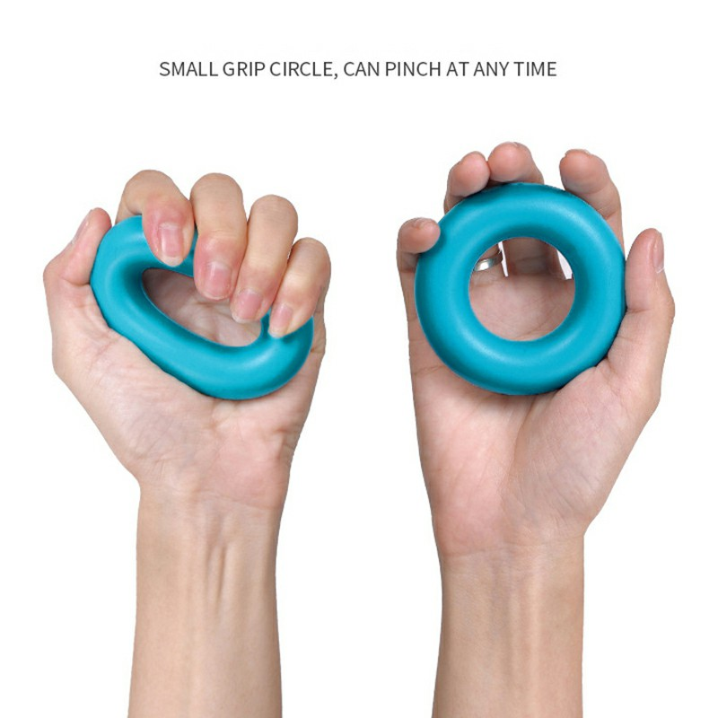 Silicone Hand Grip Exerciser Strengthener Ring for Finger Strength and Stress Relief 40 lbs - Blue