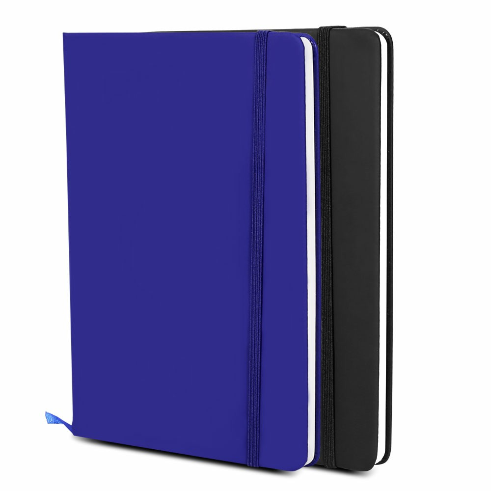Executive Soft Feel Notebook with Strap Ruled Ivory Paper A5 - Dark Blue