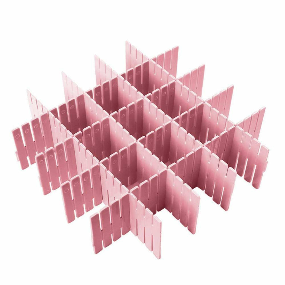 4pcs Adjustable Clapboard Drawer Organizer Divider Partition Storage Wardrobe Plastic Clapboard - Pink