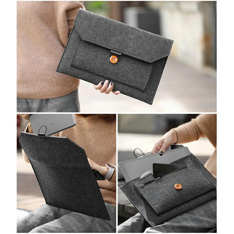 15.4 Inch MacBook Pro/iPad Sleeve Felt Laptop Protective Case - Dark Grey