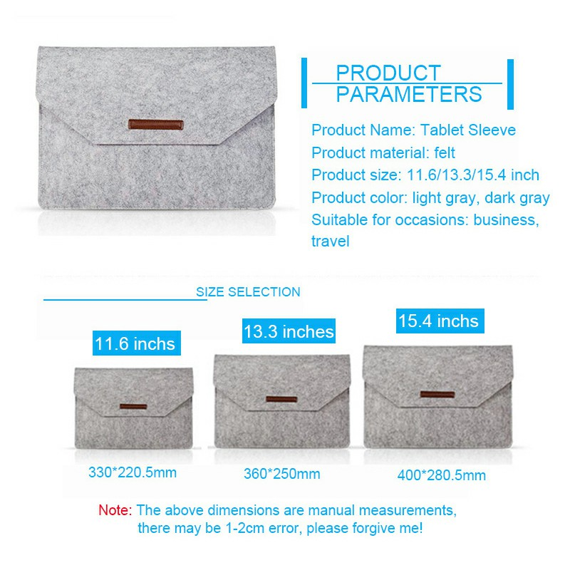 13.3 Inch Sleeve Felt Laptop Protective Case for MacBook Pro and iPad
