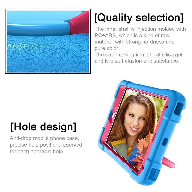 Waterproof Silicon Protective Back Case for iPad Mini 4/5 - Blue + Rose
