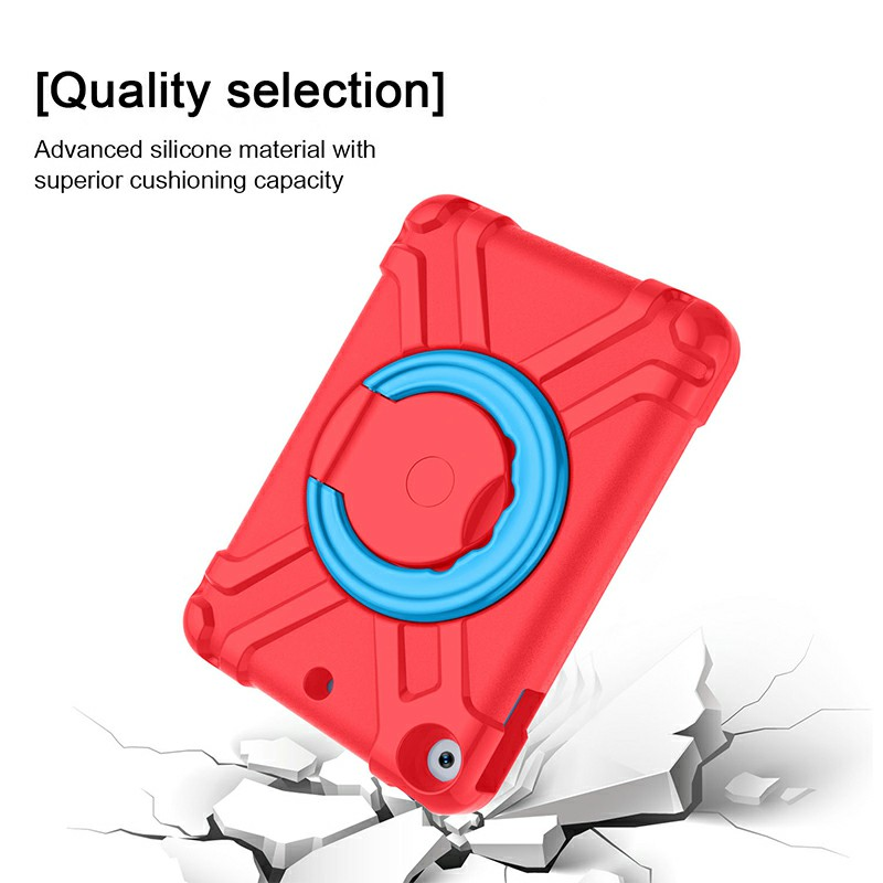 Waterproof Silicon Protective Back Case for iPad Mini 4/5 - Red + Blue