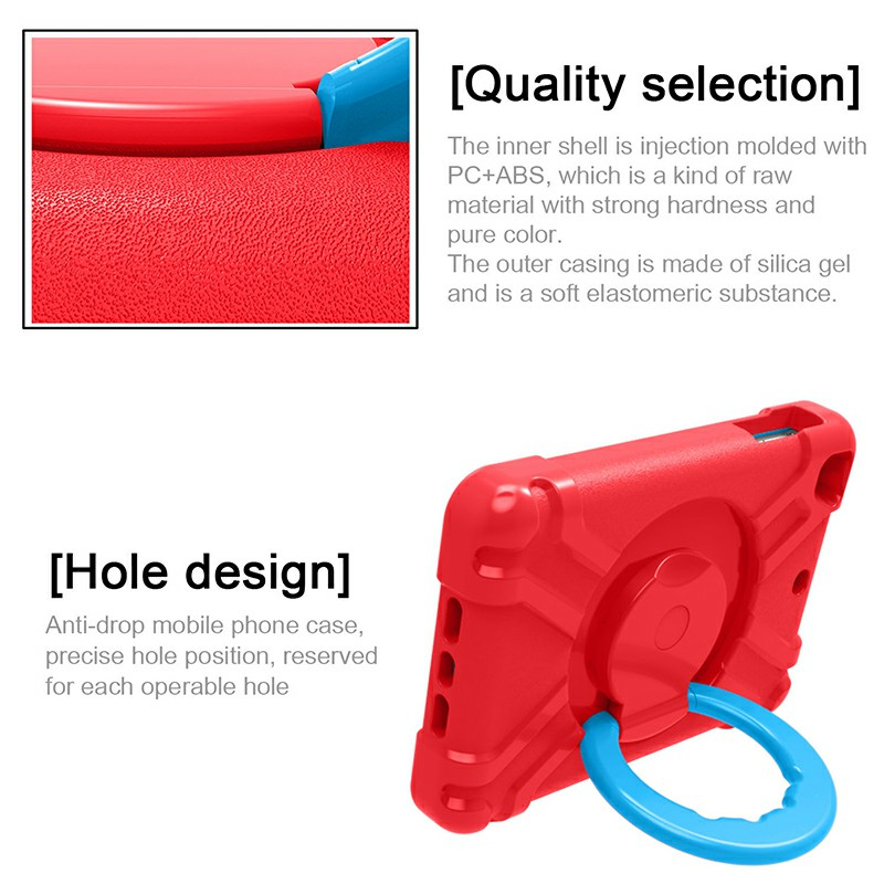 Silicon Shockproof Stand 360 Degree Rotation Back Cover Bags for iPad Mini1/2/3 - Red + Blue