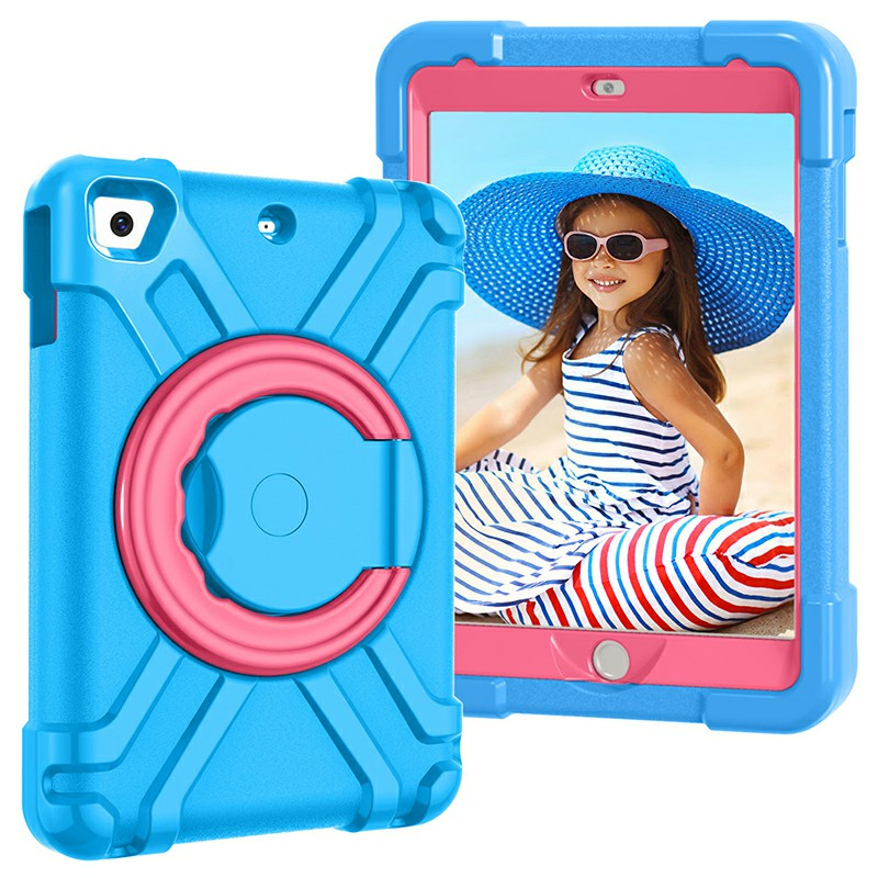 Silicon Shockproof Stand 360 Degree Rotation Back Cover Bags for iPad Mini1/2/3 - Blue + Rose
