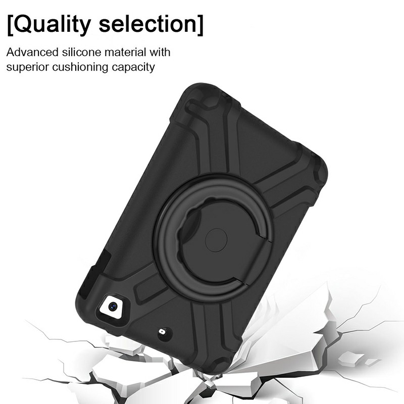 Silicon Shockproof Stand 360 Degree Rotation Back Cover Bags for iPad Mini1/2/3 - Black