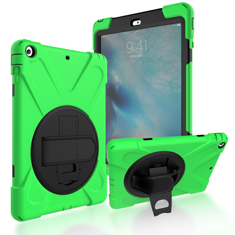 Heavy Duty Rugged PC Silicone Case with Rotating Bracket for Apple iPad 5 iPad Air - Green