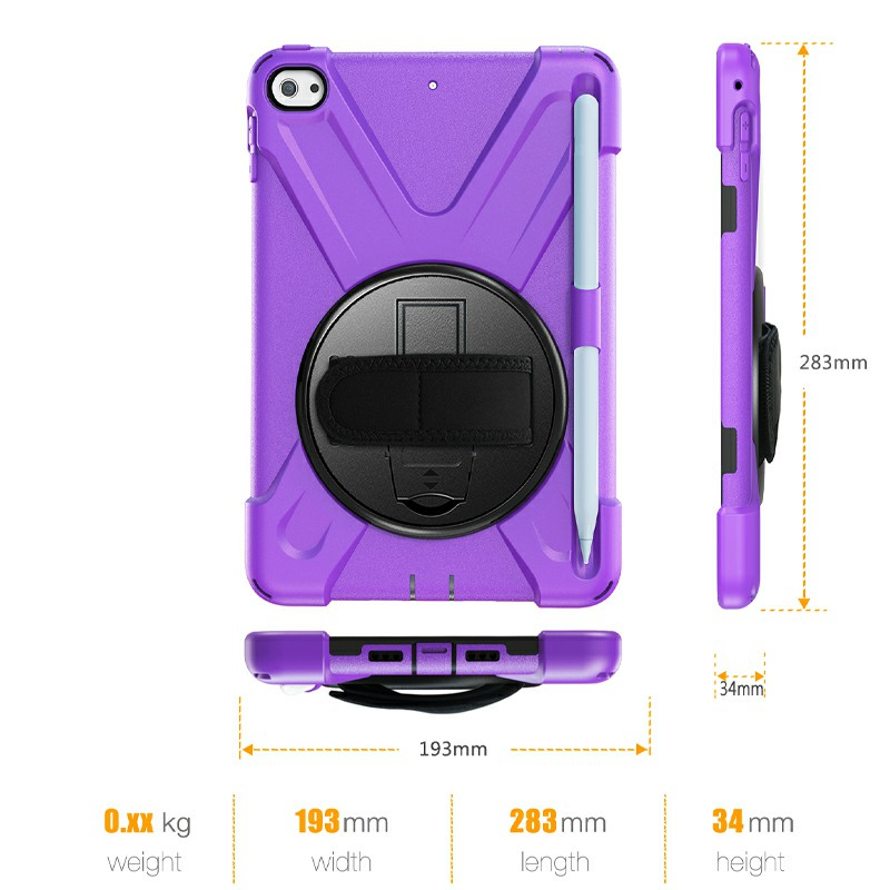 Waterproof Silicone Protective Back Case for Apple iPad Mini 4/5 - Purple