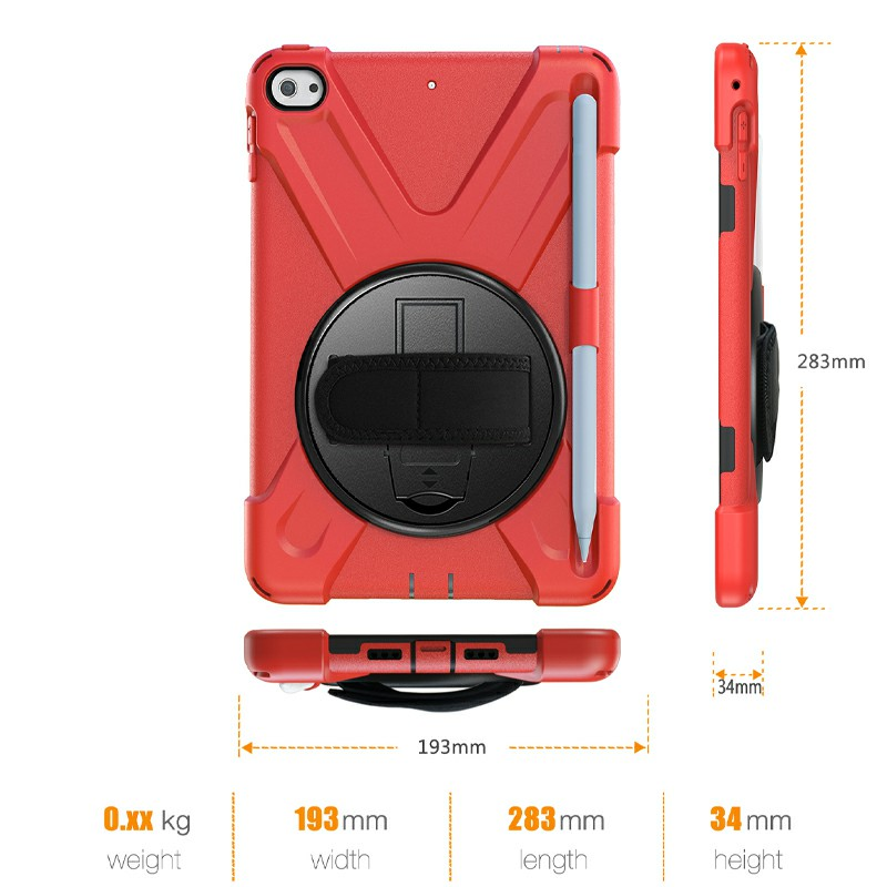 Waterproof Silicone Protective Back Case for Apple iPad Mini 4/5 - Red