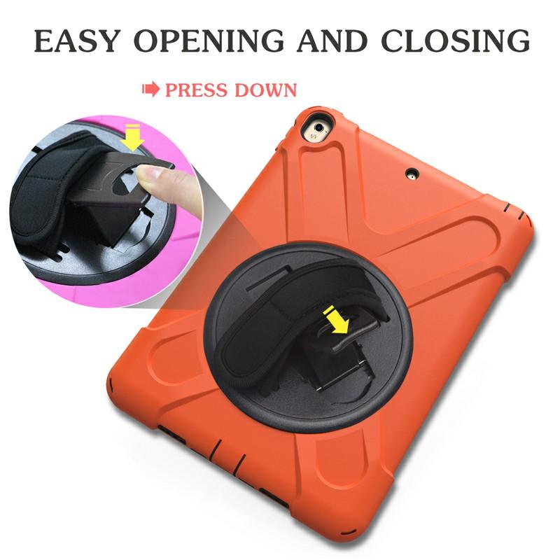Heavy Duty Rugged PC Silicone Rotating Case for Apple iPad 10.5 - Orange