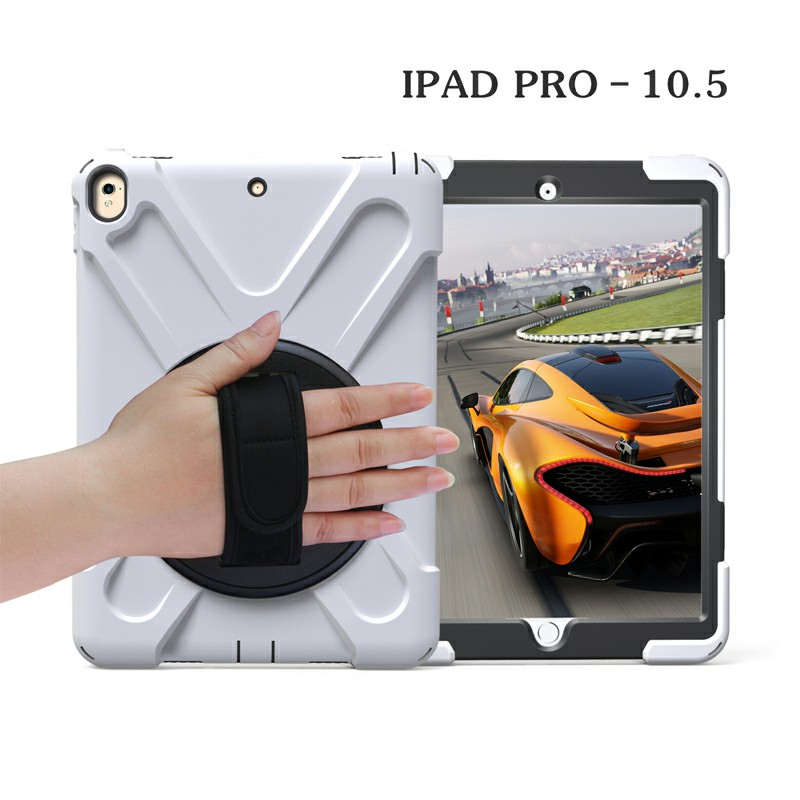 Heavy Duty Rugged PC Silicone Rotating Case for Apple iPad 10.5 - White