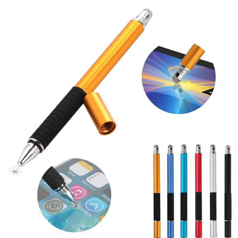 2 in 1 Multifunction Fine Point Round Thin Tip Touch Screen Pen - Black