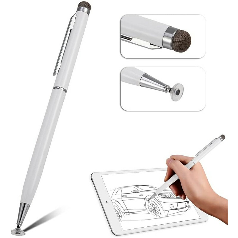 Universal Capacitive Touch Stylus Pen for iPad iPhone Tablet - White
