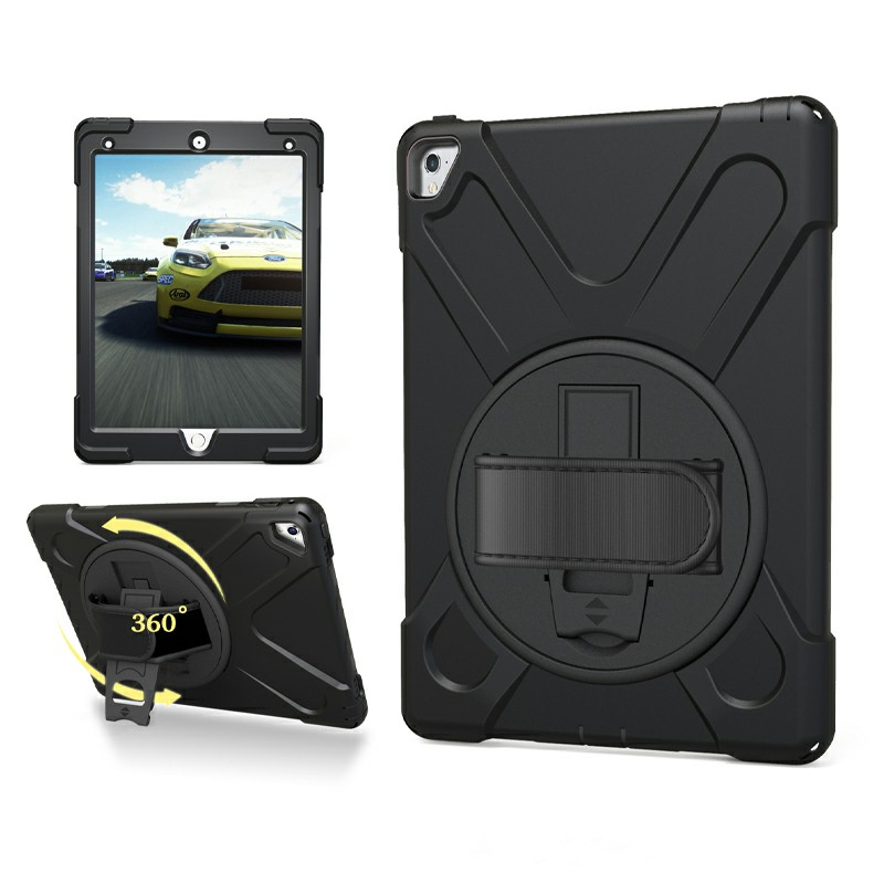 Heavy Duty Rugged PC Silicone Case with Stand for iPad Pro 9.7 - Black