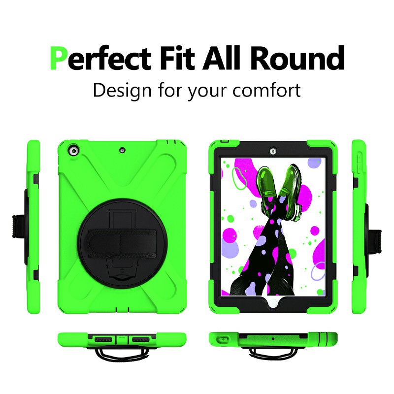 360 Degree Rotation Back Cover Shockproof Cases with Stand for Apple iPad 2019 10.2 - Green
