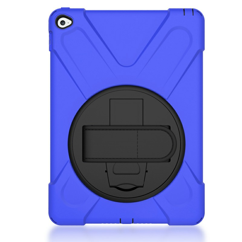 360 Degree Rotation Back Cover Shockproof Cases with Stand for iPad Air 2 - Blue