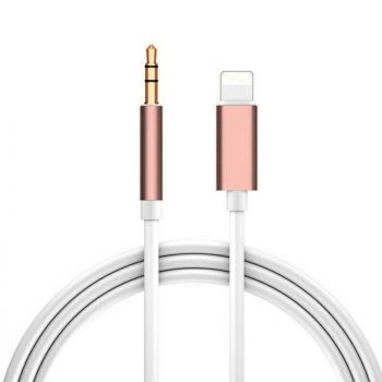 Car Aux 8pin to 3.5mm Audio Connector Cable for iPhone 7/8/11 - Rose Gold