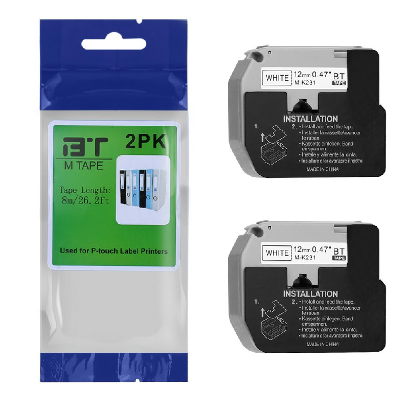 2PCS Label Tapes Compatible for Brother MK Printer 12MM - Black on White