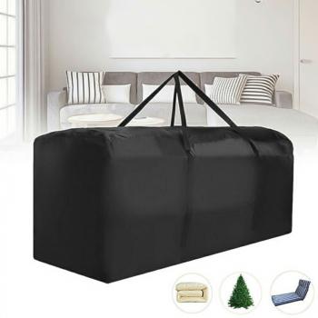 Outdoor Cushion Dustproof Cover Storage Bag Garden Furniture Covers 173x76x51cm - Black