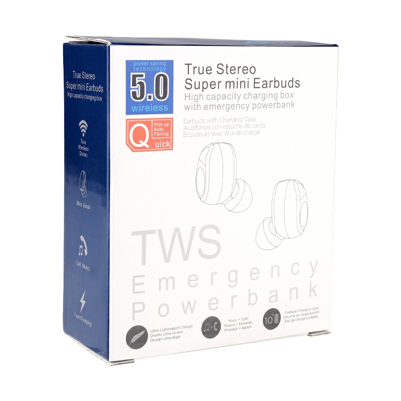F9-7 5.0 TWS Bluetooth 5.0 Headphones Mini Headset with Battery Indicator