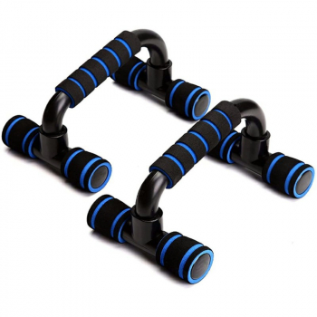 Set of 2 Push Up Floor Stands Foam Handle Engineering Plastics Tube for Muscle Training - Blue