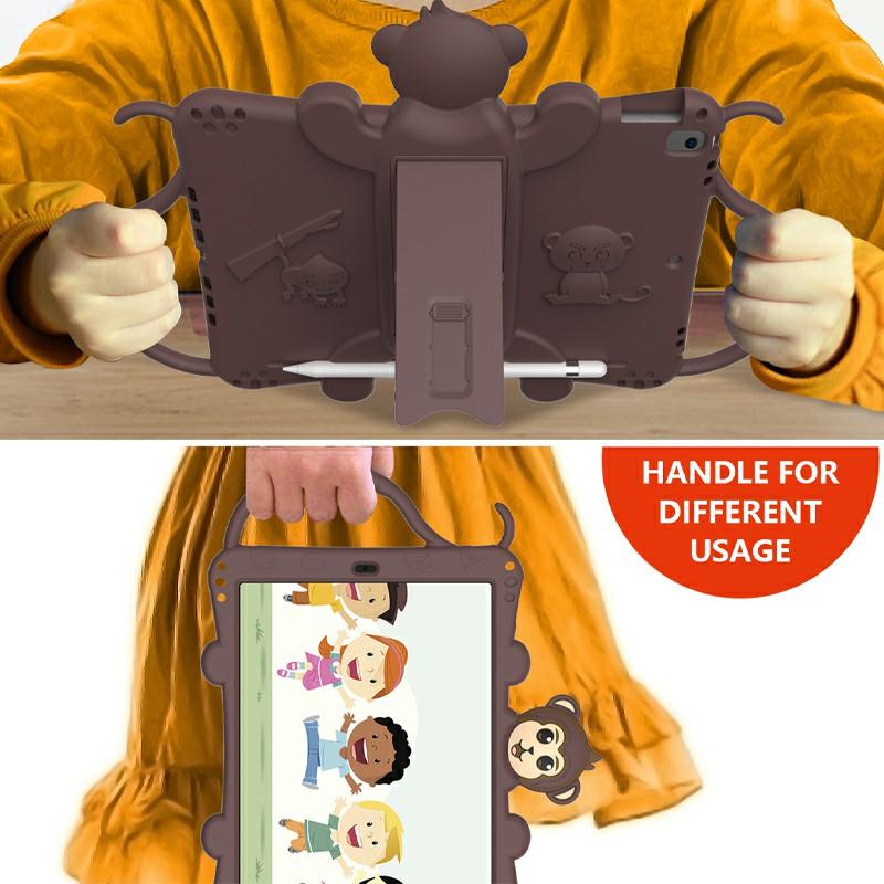 Heavy Duty Rugged PC Silicone Cartoon Case for Apple iPad air 3 10.5/10.2 - Brown