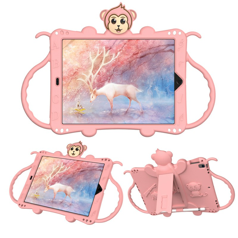 Heavy Duty Rugged PC Silicone Cartoon Case for Apple iPad air 3 10.5/10.2 - Rose Gold