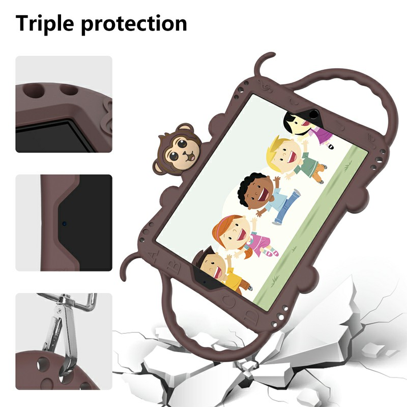 Heavy Duty Rugged PC Silicone Cartoon Case for Apple iPad 5/6/7/8 with Strap - Brown