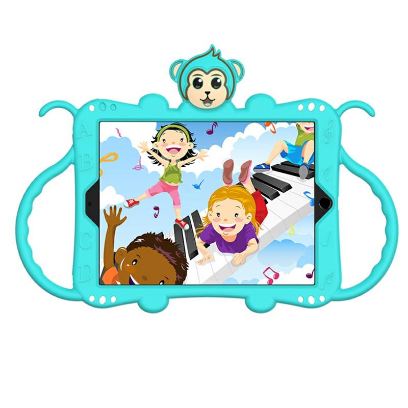 Heavy Duty Rugged PC Silicone Cartoon Case for Apple iPad 5/6/7/8 with Strap - Aqua