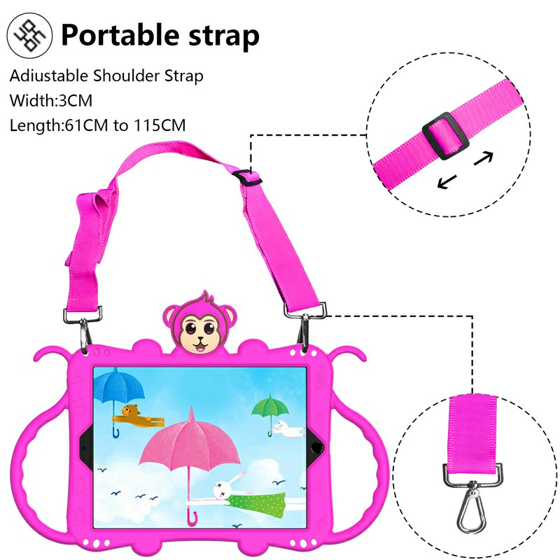 Heavy Duty Rugged PC Silicone Cartoon Case for Apple iPad 5/6/7/8 with Strap - Hot Pink