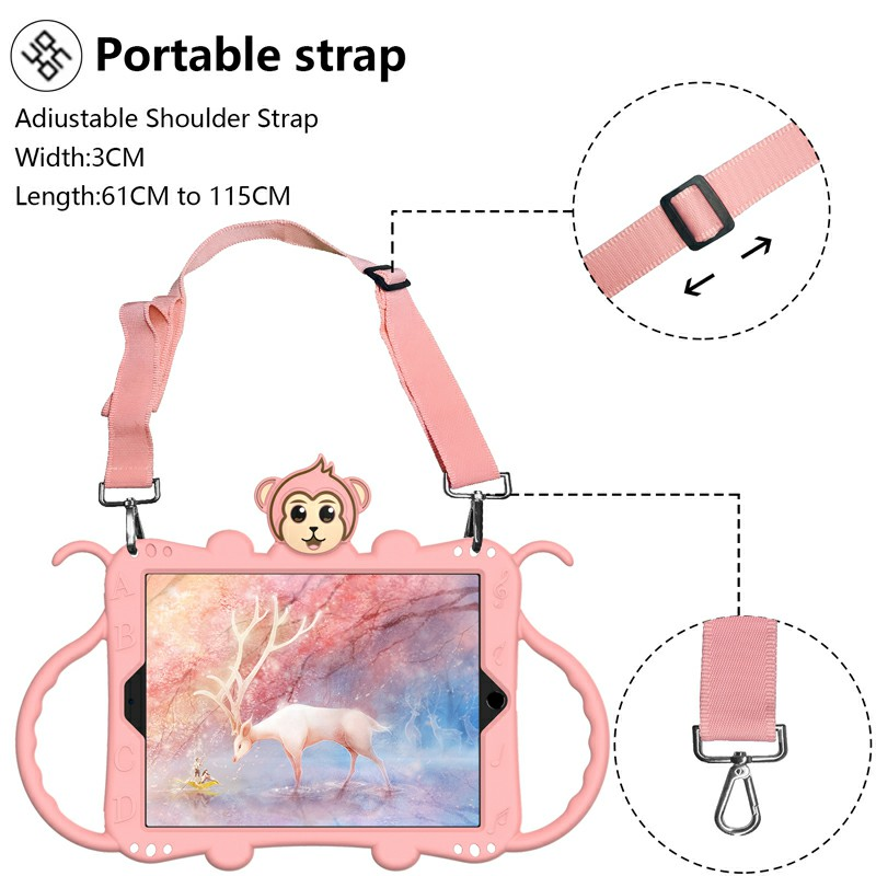 Heavy Duty Rugged PC Silicone Cartoon Case for Apple iPad 5/6/7/8 with Strap - Rose Gold