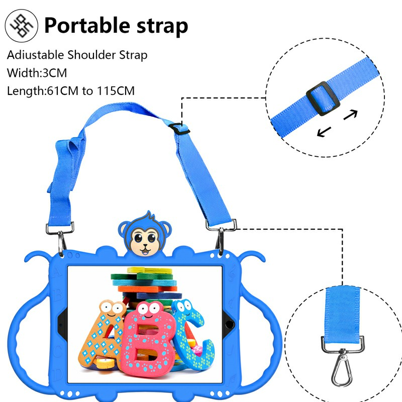 Heavy Duty Rugged PC Silicone Cartoon Case for Apple iPad 5/6/7/8 with Strap - Blue