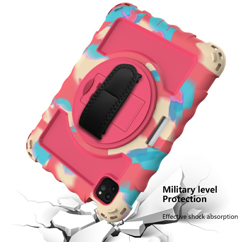 Heavy Duty Rugged PC Silicone Case for Apple iPad Air 4/Pro 11 2018/2020 with Strap - Color + Hot Pink