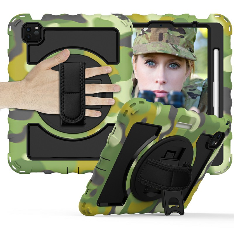 Heavy Duty Rugged PC Silicone Case for Apple iPad Air 4/Pro 11 2018/2020 with Strap - Camouflage