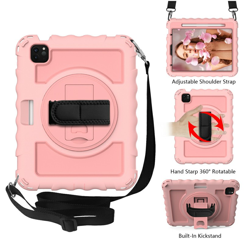 Heavy Duty Rugged PC Silicone Case for Apple iPad Air 4/Pro 11 2018/2020 with Strap - Rose Gold