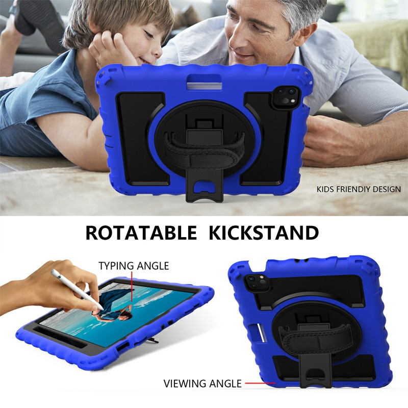 Heavy Duty Rugged PC Silicone Case for Apple iPad Air 4/Pro 11 2018/2020 with Strap - Blue