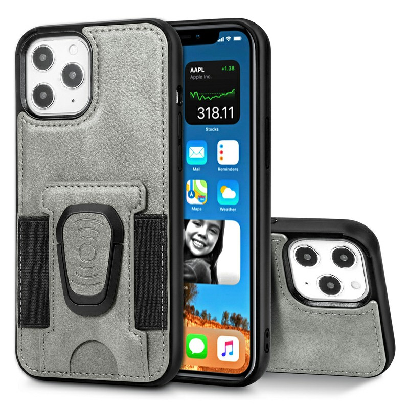 Leather Wallet Case Card Slot Shockproof Back Cover with Stand Holder for iPhone 12 Pro Max - Grey