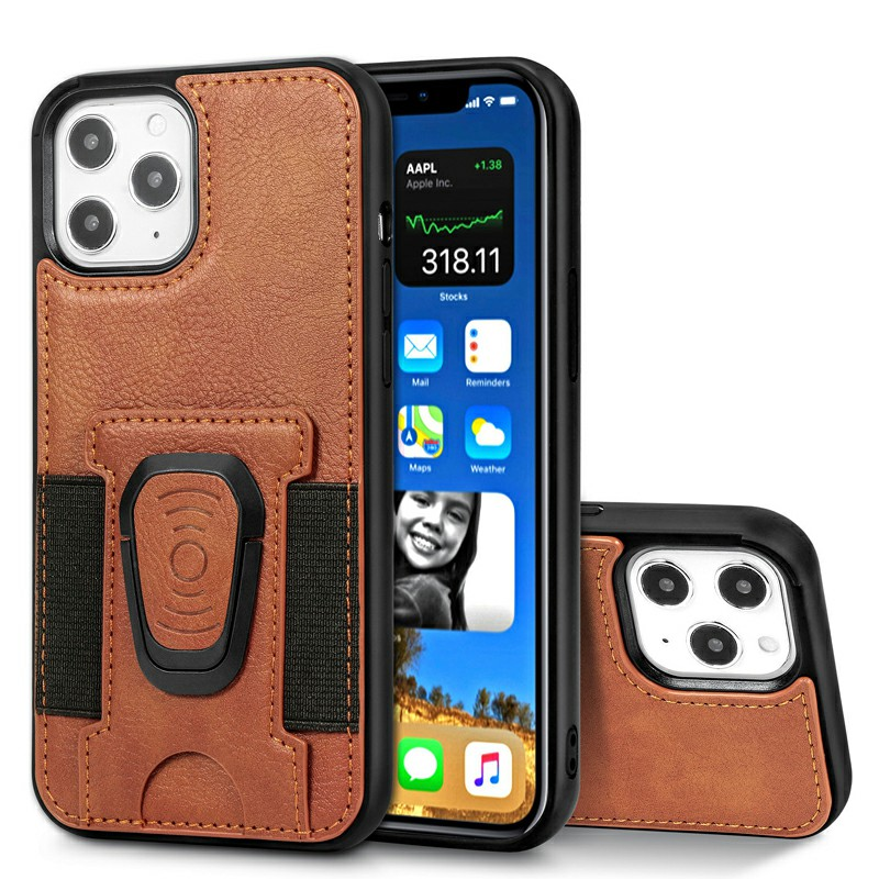 Leather Wallet Case Card Slot Shockproof Back Cover with Stand Holder for iPhone 12 Pro - Brown