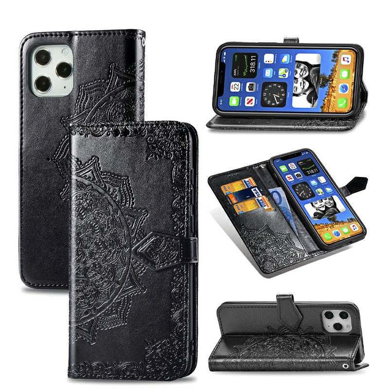 Mandala Embossed Case PU Leather Case Wallet Cover for iPhone 12 Pro - Black