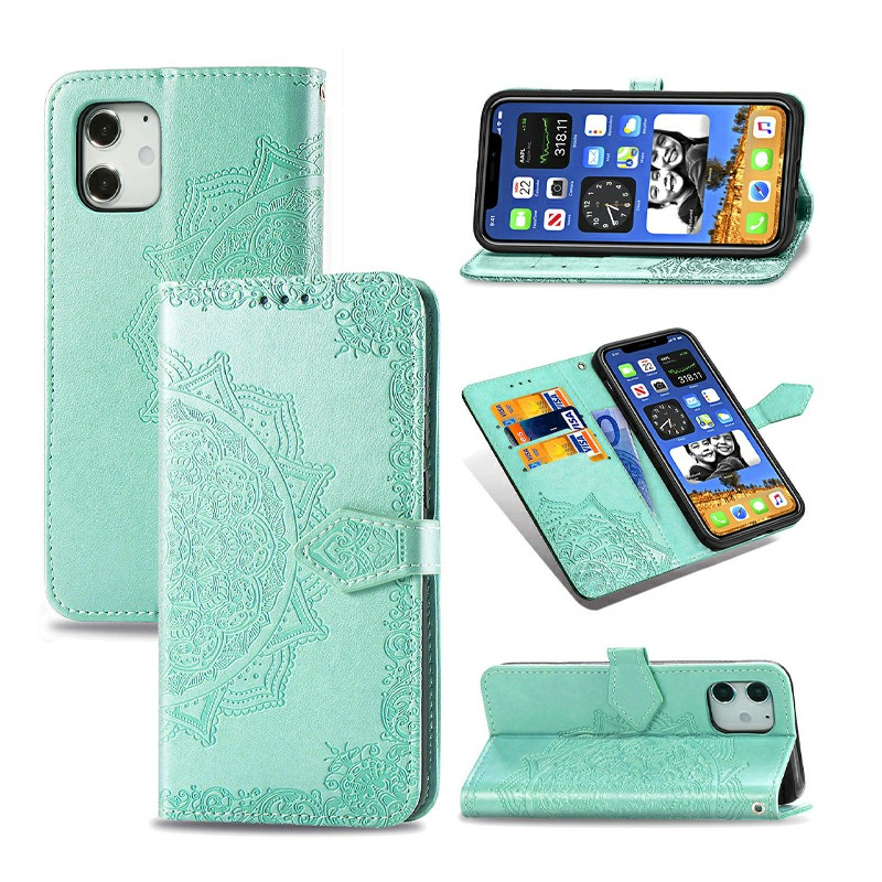 Mandala Embossed Case PU Leather Case Wallet Cover for iPhone 12 - Green