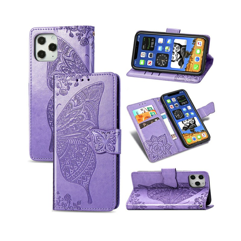 Flower Butterfly Embossed Protective Case PU Leather Case Wallet Cover for iPhone 12 Pro - Purple