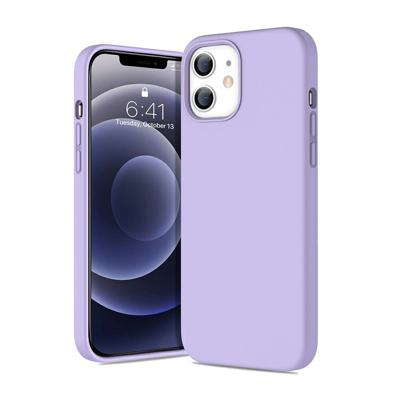 Silicone Shockproof Cover Back Case Protective Soft Phone Colver for iPhone 12 mini - Purple