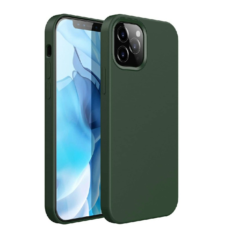 Silicone Shockproof Cover Back Case Protective Soft Phone Colver for iPhone 12 Pro - Dark Green