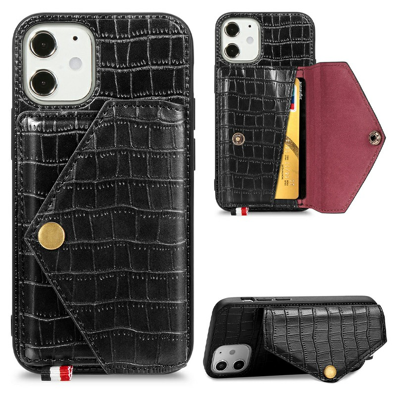 Crocodile Pattern Leather Wallet Case Card Slot Shockproof Back Cover for iPhone 12 mini - Black
