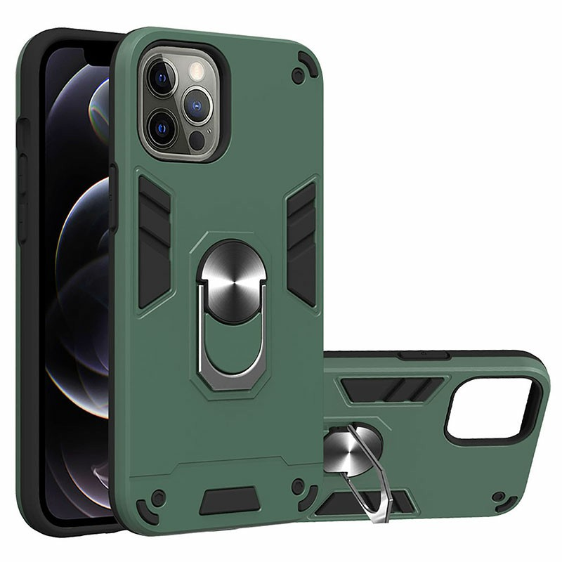 Armor Heavy Duty Dual Layer Ring Shockproof Hard Protective Case for iPhone 12 Pro Max - Green