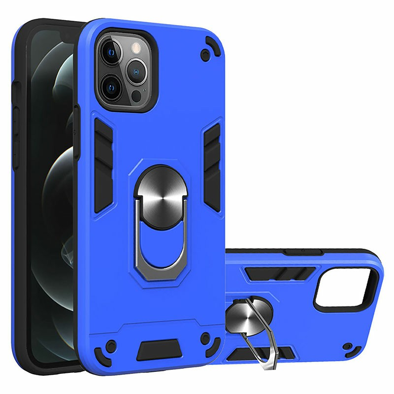 Armor Heavy Duty Dual Layer Ring Shockproof Hard Protective Case for iPhone 12 Pro - Blue