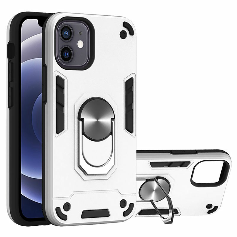 Armor Heavy Duty Dual Layer Ring Shockproof Hard Protective Case for iPhone 12 - Silver